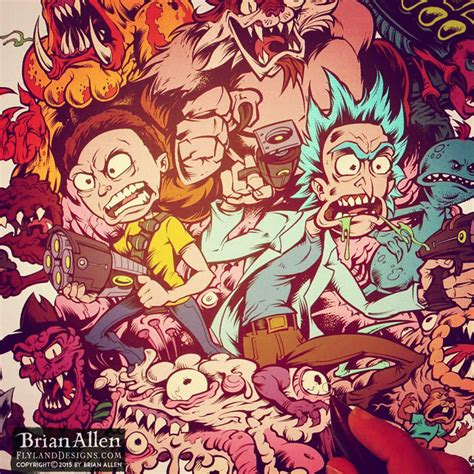 Rick and Morty Official T-Shirt Illustration - Flyland