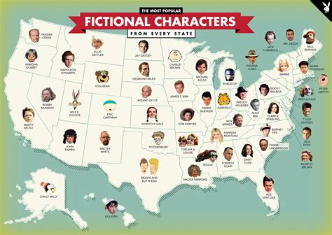 A Map Of The Most Popular Fictional Characters From Every