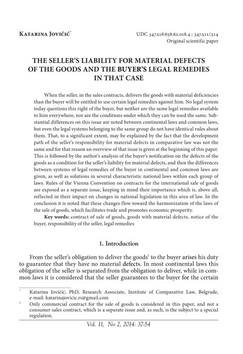 (PDF) The seller's liability for material defects of the