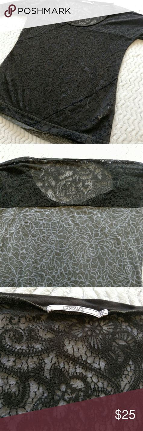 Language Sheer Lace Front Top XS Long Sleeve sheer Lace