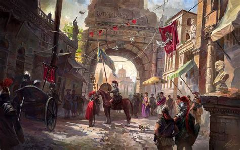 Rome Fantasy by LotharZhou soldier market town square city